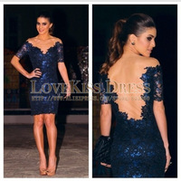 Sexy Vestidos De Fiesta V Neck Short Sleeve Navy Blue Lace Sheath Short Cocktail Dress 2014 DYQ1145