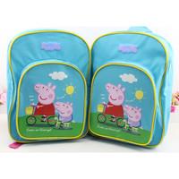 2014 kids backpack peppa pig children schoolbag preschool elementary school backpack girls boys gift cartoon blue bag stationery
