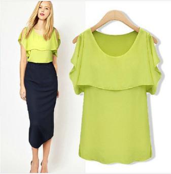 2014 new summer hot flounced chiffon shirt European and American star loose cape sleeveless chiffon blouse grass green and white(China (Mainland))