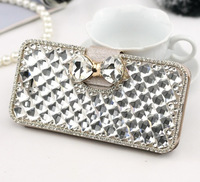Luxury Bling Diamond Crystal Flip Wallet Card Bowknot Magnetic Stand Silk Leather Case Cover For Samsung Galaxy S3 S4 S5 Handbag
