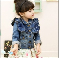 child quality water wash denim beading girl's outerwear jackets coats for girl kids baby clothes wholesale 5pcs/lot FreeShipping