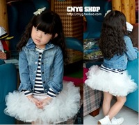 Spring-autumn 2014 new arrival classic water wash design denim outerwear,fashion cute girls denim jacket girl coats freeshiping