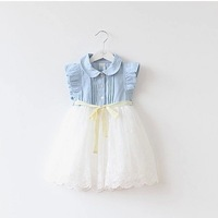 2014 new spring summer girls children's baby clothing crew neck patchwork denim one-piece dress gauze kids brand dresses 5pcs