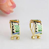 New Design 1cm Width Green Symbol Rose Gold Plated Enamel Jewelry Earring Pendant,1pcs