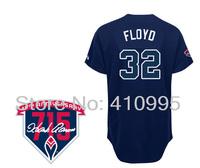 Atlanta Baseball 32 Gavin Floyd Alternate Road Cool Base Jersey wHank Aaron 715th HR 40th Anniversary Patch Free Shipping