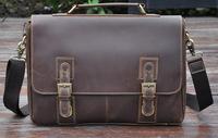 Promotion 2014 New 100% Genuine Leather Vintage Men's Business Briefcases Laptop Shoulder Bags Messenger Bags For Men Handbags