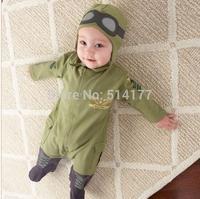 Free shipping 2014 Fashion Pilots style boy romper baby romper baby wear 5pcs/lot