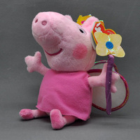 "Free Shipping 10/Lot Cute Peppa Pig Plush Doll Stuffed Toy Magical Princess Peppa 7""(18CM) Wholesale"