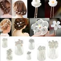 Fashion 20PCS Lots Wedding Bridal Crystal Faux Pearl Flower Hairpin Hair Clip Bridesmaid 6Style U choose
