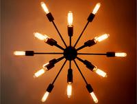 Luxury Vintage Rh Lantern 18 Bulbs Artificial Satellite Pendant Light Iron Black Loft Bar Coffee Parlor E27 American Country LED