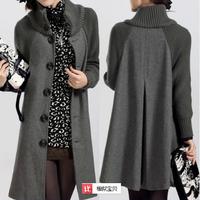 Free Shipping 2014 New Fashion Large Size Women'S Winter Coats Long Sections Woolen Cape Coat Oversized Coat Hem WBZ0032