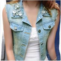 Fashion vintage beading Women water wash distrressed sleeveless vest denim vest coat  jeans vest