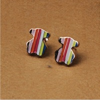 316 Titanium Steel Brand 18K rose gold plated colorful bear stud earrings fashion earrings for women 2014 E502