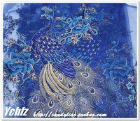Navy blue peacock gauze embroidery flower applique paillette lace cheongsam clothes diy handmade peacock fabric applique