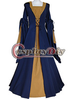 2014 New Custom Made Brown Dark Blue Medieval Renaissance Victorian Dress Costume For Fantasy Parties