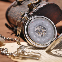 Cool Men Watch With Chain Necklace Analog Vintage Fashion Mechanical Hand Wind Pocket Watch Skeleton Watches