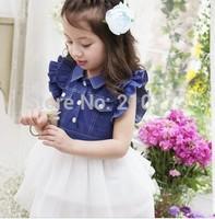 NEW 2014 Spring/summer Girls Princess Dress,Baby Girl Cowboy Gauze Patchwork Dress, Girl Braces Dress