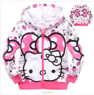 Newest Hello Kitty Character Printed Baby Girls Children Hoodies,Cotton Terry/Fleece Kitty Cat Girl Kids Hoody(China (Mainland))