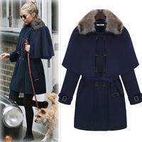 2014 New Casacos Femininos Sobretudo Spring High European American Women's Slim Wool Coat jacket detachable cape j3076
