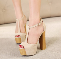 2014 summer new ultra high heels platform open toe thick heel sandals t strap sexy cutout women's sexy buckle casual shoes nude