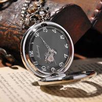 Men Watch Carved Phoenix Luxury Brand Mechanical Hand Wind Pocket Watch With Necklace Fashion Steampunk Pocket Watch