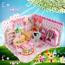 Fashion lovely dream villa  boy girls 3D puzzle children kid Mosaic toys DIY toy 690B(China (Mainland))