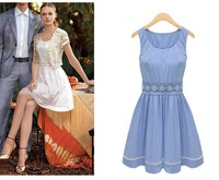 Summer 2014 Fashion Casual Solid Color White Blue High Waist Dress Lace Sleeveless O-Neck Sexy Tank  Dresses High Street S-XL