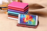 K-cool High quality flip PU leather cases for samsung galaxy S5 I9600 , Luxury leather cover case for I9600-button front