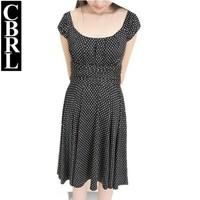 2014 Korean commuter black spots and white lady doll collar waist thin chiffon wave point sleeveless dress