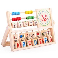 s Wholesale/retail Educational Calculation frame learning rack baby wooden educational multifunctional digital letter flap toy