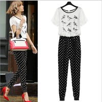 2014  New Fashion Summer Women's Bird Pattern One Piece Jumpsuits Casual Overalls for women, free shiping(QNF069)