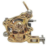 Gold Skull Tattoo Machine Gun 8 Wrap Coil Liner Shader Body Art Supply