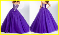 Quinceanera Dresses Ball Gown Sweetheart Tulle Purple Sequins Beading Pleats Floor Length Party Dresses Women Girl Gown