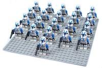 21pcs/lot blue clone trooper Minifigure compatible with lego Building Block doll,Star wars Brick accessory WOMA Sluban Decool