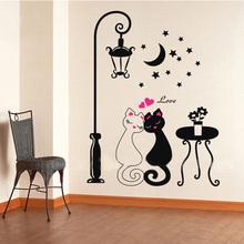 Home Decoration Decors Cute Couples Cats Stickers Decals Adesivo De Parede Kids Children's Rooms Decor DIY Cartoon Wall Sticker(China (Mainland))