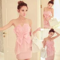 2014 women's sexy pink fashion elegant bow one-piece  mini dress