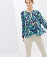 Spring New 2014 Women Vestidos Blue Big Dots Print Chiffon Shirt Summer Long Sleeve Blouse Casual Za Brand Design Ruffles Tops