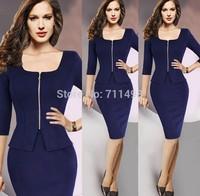 2014 Winter New Fashion Elegant Square Collar Half Sleeve Slim Temperament career Pencil Women Dress