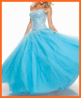 Quinceanera Dresses Ball Gown Sweetheart Tulle Blue Sequins Beads Pleats Floor Length Party Dresses Women Charming Girl Gown