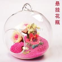 Modern Hanging Clear Round Terrarium Crystal Glass Vase Flower Balls Decoratives Vases Home Decor Wedding Decoration(China (Mainland))