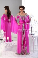 Elegant Hot Pink Spaghetti Strap Long Sleeves Lace Beads Kaftan Evening Dresses Long Arabic Evening Gowns Robe De Soiree