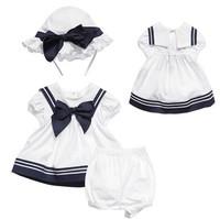 New baby girls shortsleeve dress suit 100% cotton 2014 summer euro white navy princess dress+shorts+hat 3 piece set baby clothes