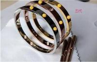 TOP QUALITY New Brand Titanium Steel Love Bangle Screw Designer Metal Cuff Bangle With screwdrivers Free Shipping B-202