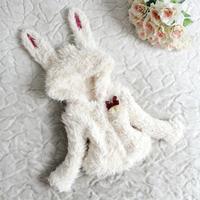 Hot selling fashion children's clothing rabbit clothing winter coats wool hooded coat baby girls jackets free shipping