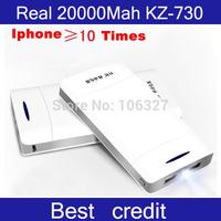 Free shippping!Original real 20000mah high capacity KZ-730 Emergency Portable mobile universal power bank for Camera,phones/Kate