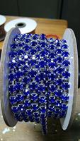 Silver plating ss28  Sapphire Preciosa rhinestone cup chain