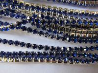Silver plating  SS12 (3mm-3.2mm) PP24 Sapphire Preciosa rhinestone close cup chain