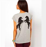 Plus Size XS-XXL new 2015 rolled short sleeve o-neck back horse animal print homies cotton women t shirt shirts camisetas C378