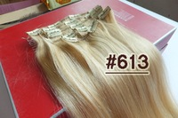 Full Head 250g Thick Straight Virgin Clip IN 100% Real REMY Human Hair Extensions #613 Bleach Blonde  Free Shipping  2set/lot