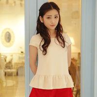 2015 New Wemen's Shirts Loose Cotton Shirt Round Collar Garments Tops Free Shipping  W83073